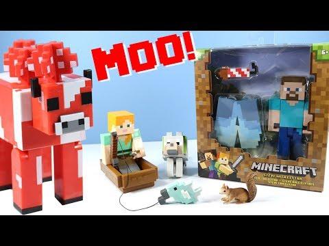 Minecraft Survival Mode Toys Hay-Eating Mooshroom & Fishing Boat Alex 2018 Mattel