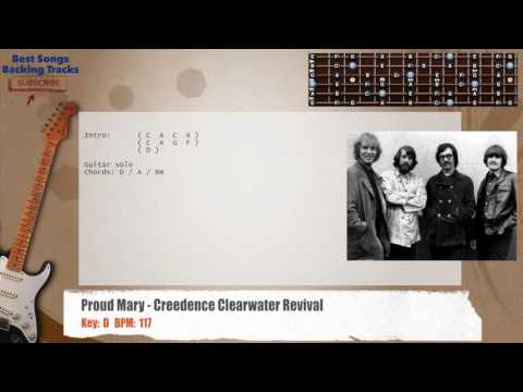 Proud Mary - Creedence Clearwater Revival Guitar Backing Track with chords and lyrics