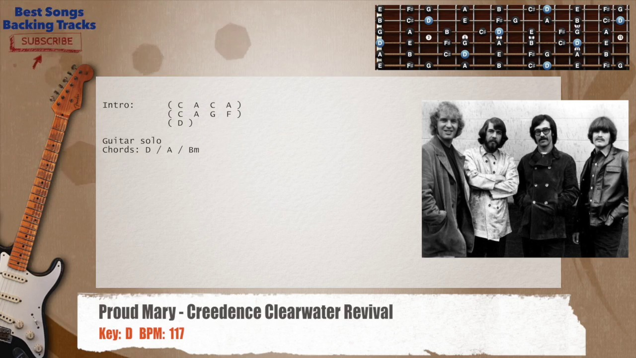 Proud Mary Creedence Clearwater Revival Guitar Backing Track With