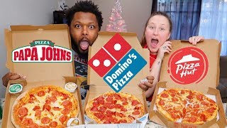 PIZZA HUT, PAPA JOHN'S, AND DOMINO'S PIZZA MUKBANG!!
