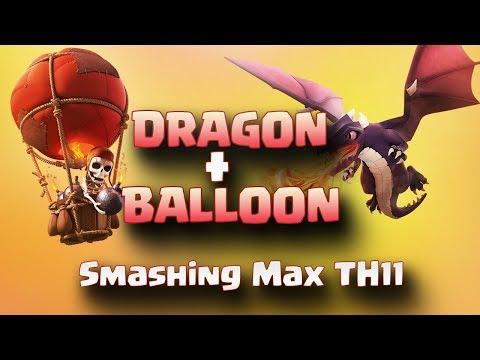 Dragon + Balloon: Smashing Max TH11 | Top 3 Star Attack | TH11 War Strategy #89 | COC 2017 |