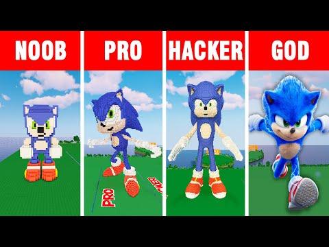 Minecraft NOOB vs PRO vs HACKER vs GOD: SONIC THE HEDGEHOG  BUILD CHALLENGE in Minecraft