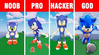 Minecraft NOOB vs PRO vs HACKER vs GOD SONIC THE HEDGEHOG BUILD CHALLENGE in Minecraft