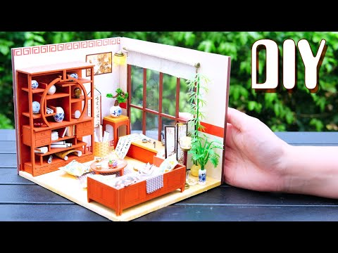 DIY Miniature Dollhouse Kit || Chinese Living Room ( With Full Furniture & Lights )