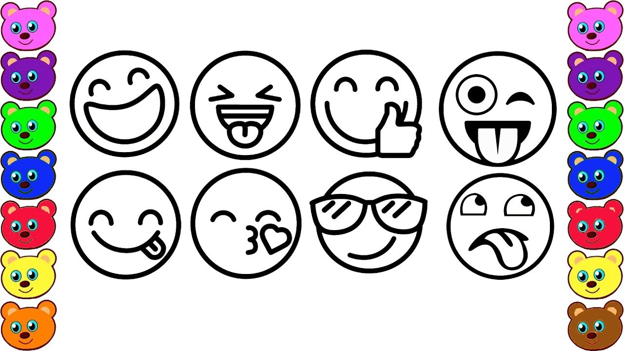How To Draw and Color Emoji Faces | Emoji Coloring Pages for Kids ...
