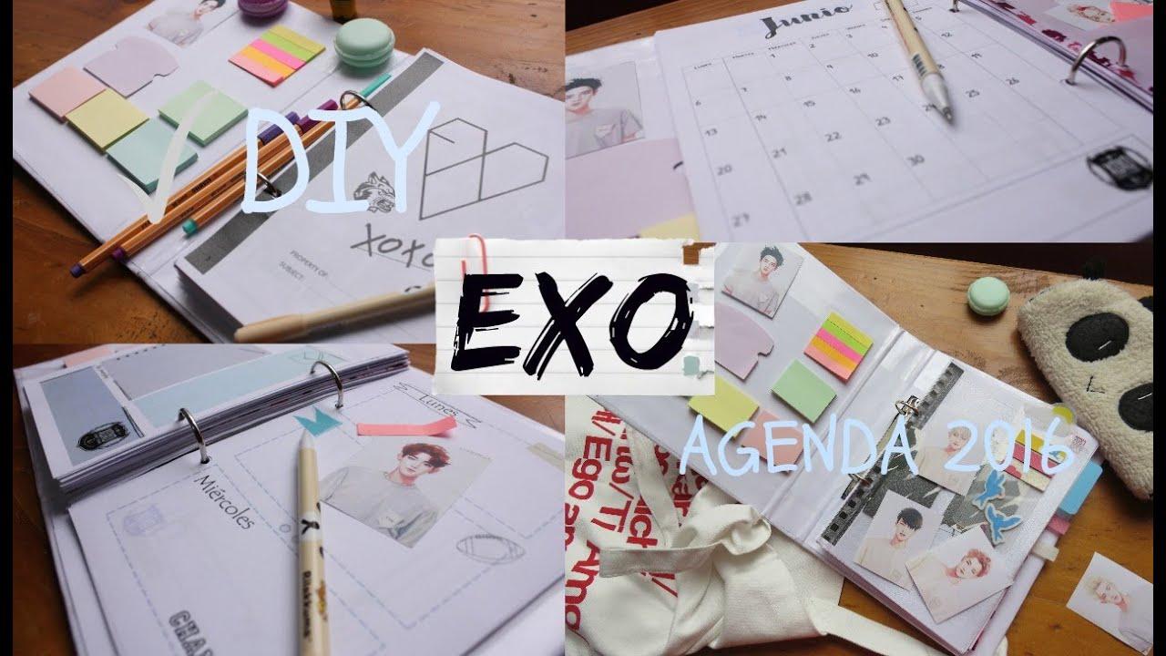Diy Kpop Calendar : Diy k pop exo agenda planner youtube