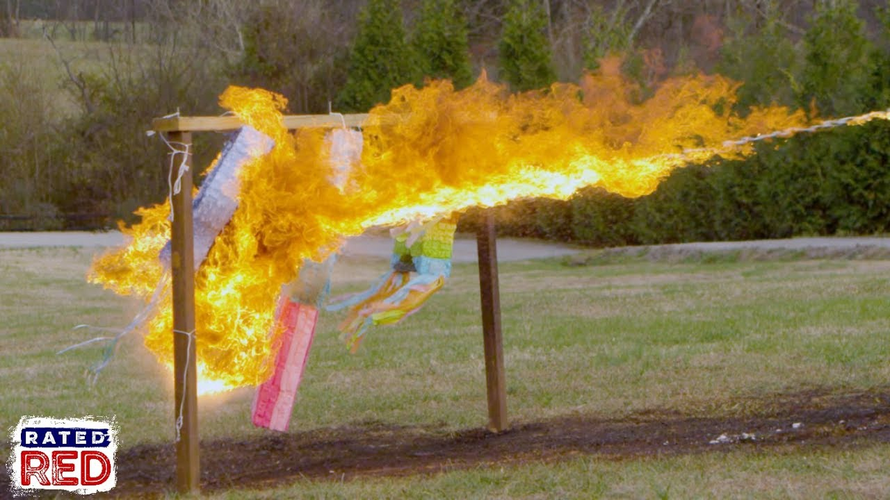TORCH IT: We Take a Flamethrower to Some Piñatas