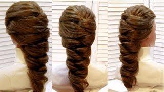 Прическа коса на длинные и средние волосы на основе гофре.  Hairstyle for long and medium hair