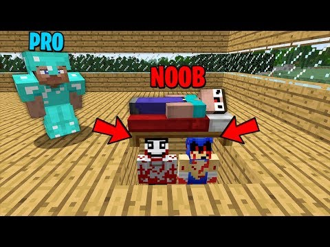 Minecraft Battle : NOOB vs PRO: TERRIBLE JEFF THE KILLER AND SONIC.EXE HIDENED UNDER BED Challenge