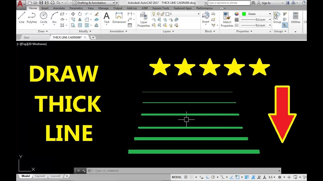 Drawing Lines In Autocad Using Bearings : How to draw a thick line in autocad youtube