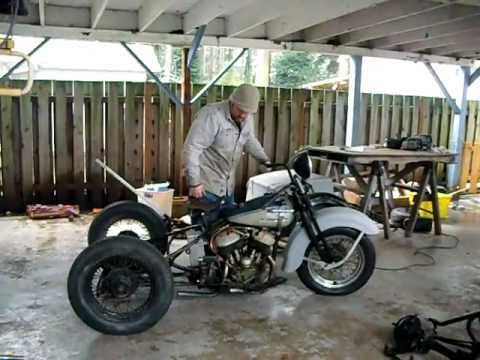 1942 Wla Harley Servi Car Cold Start With Straight Pipes