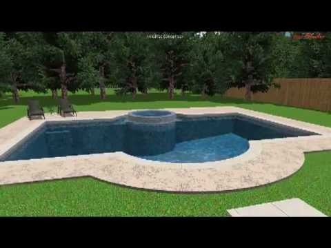 rectangular pool with spa and swim out