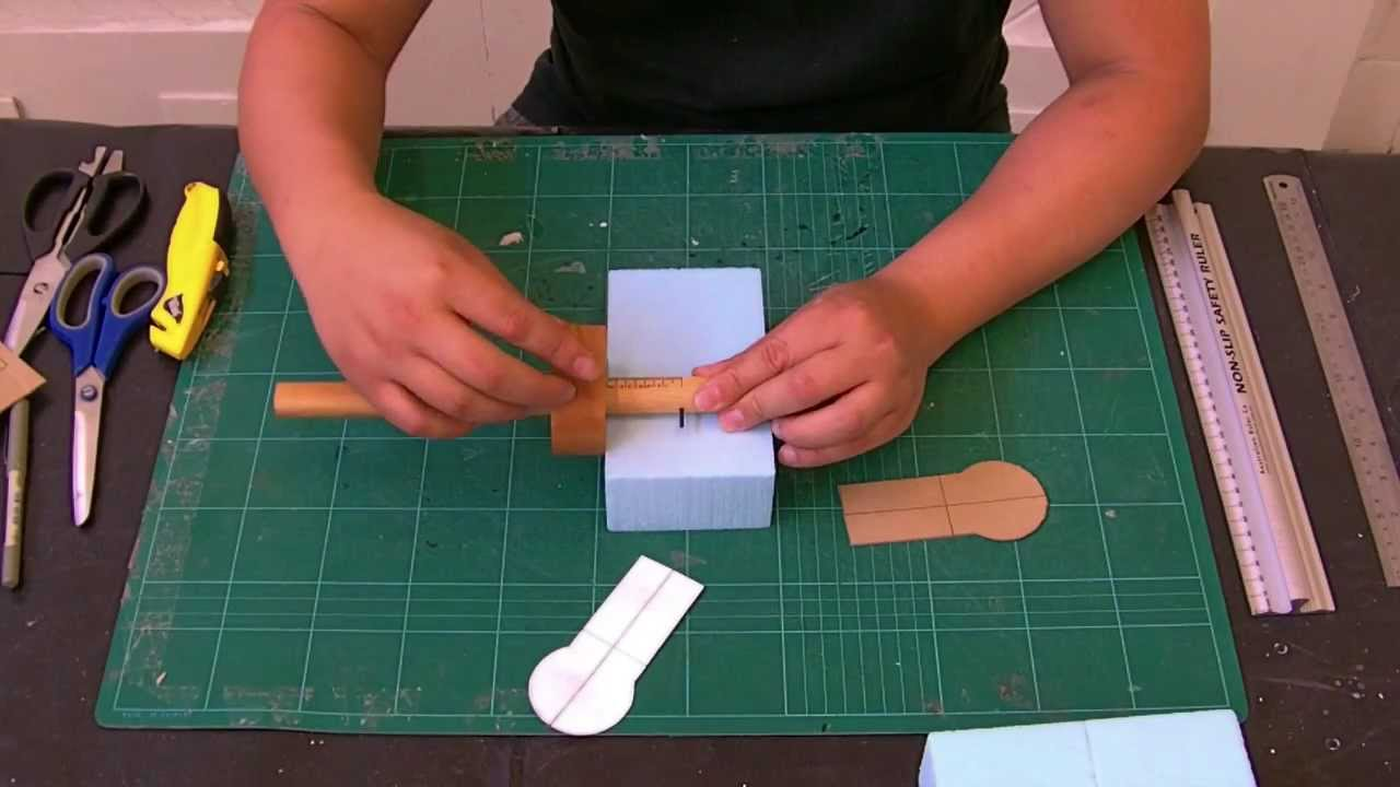 blue foam 3 adhering templates to model youtube. Black Bedroom Furniture Sets. Home Design Ideas