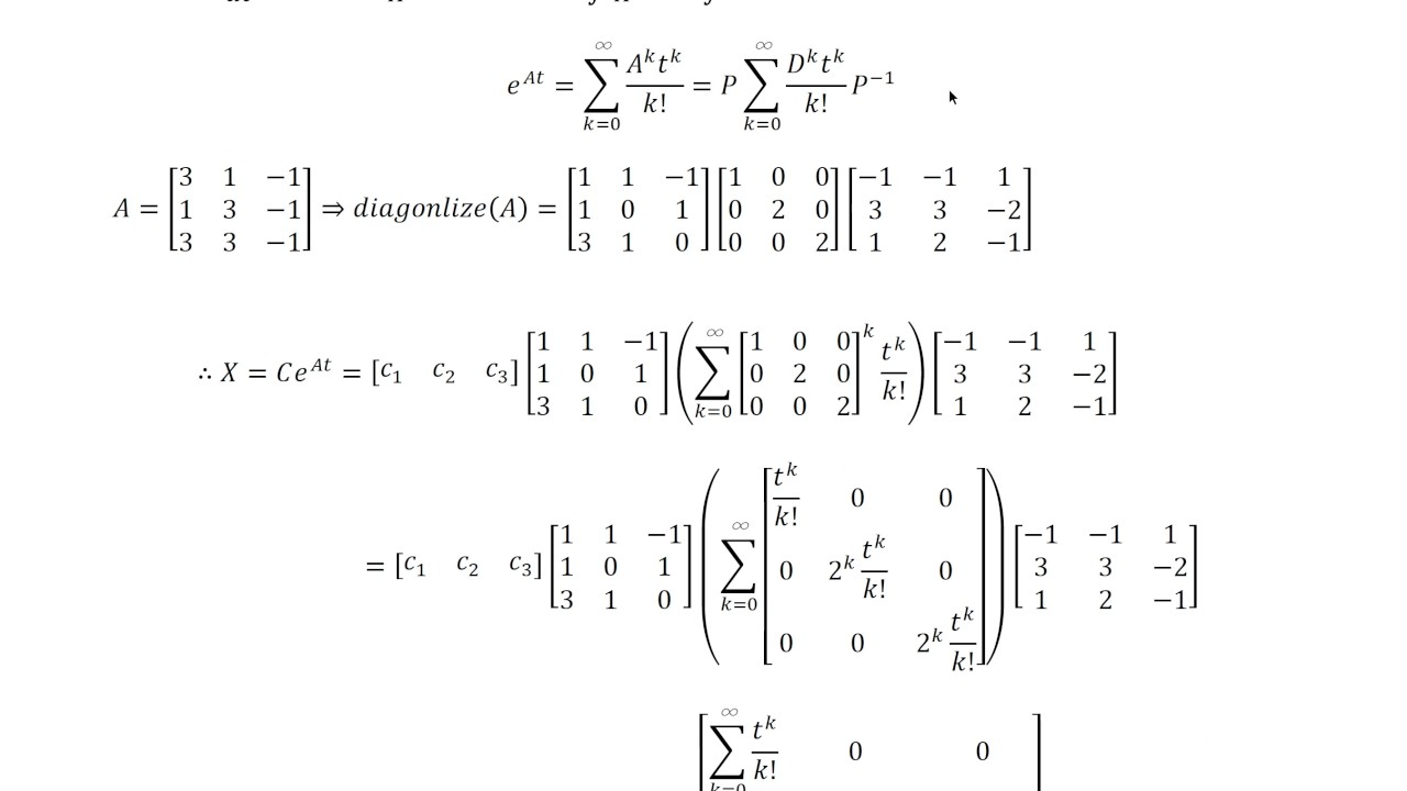 How to solve a system of differential equations using exponential  summation, and eigenvalues