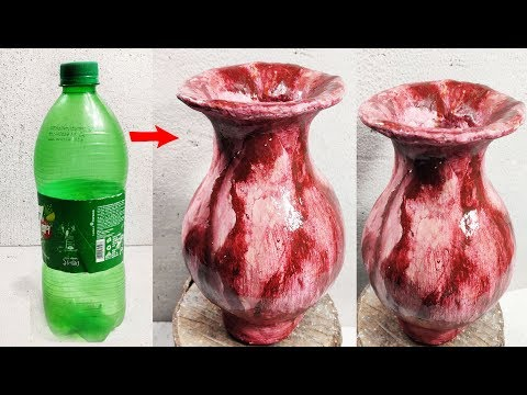 Big Size Awesome Flower Vase Making | flower vase style Red marble with plastic bottle