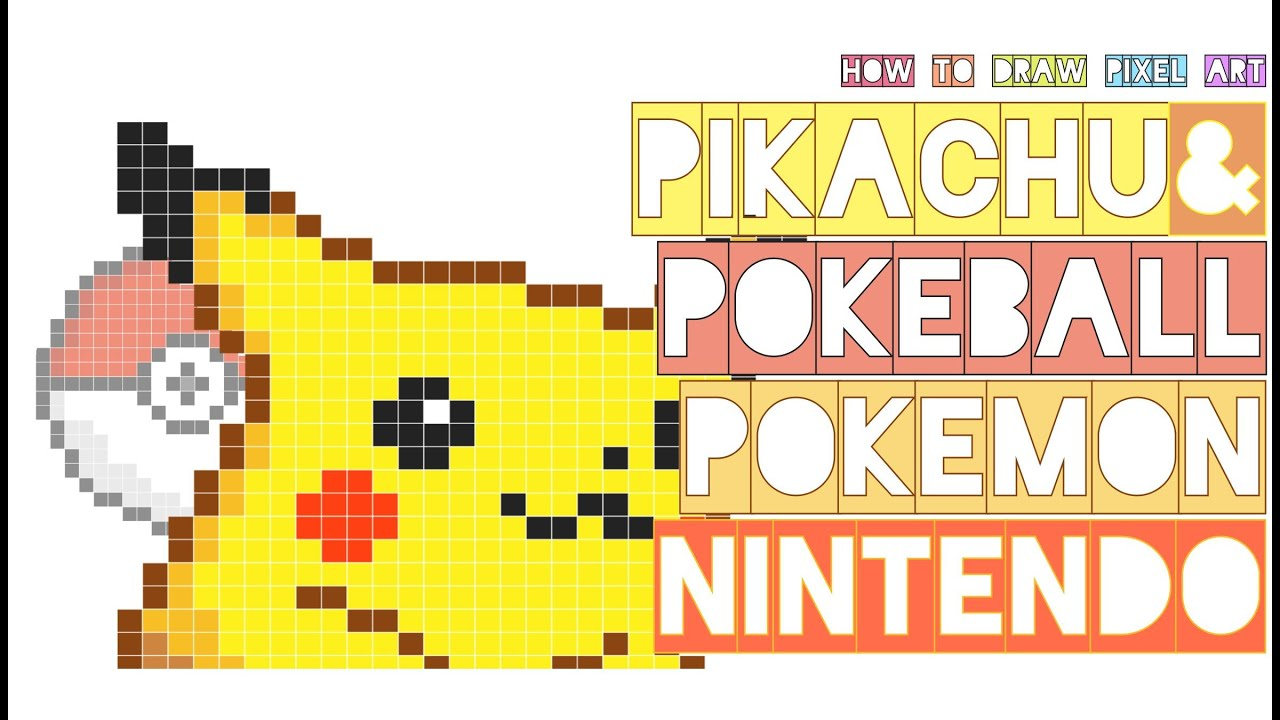 How To Draw Pikachu With Pokeball Pokemon Nintendo Doodle Pixel