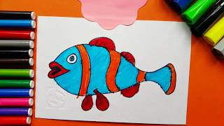 Coloring And Drawing Cute Fish