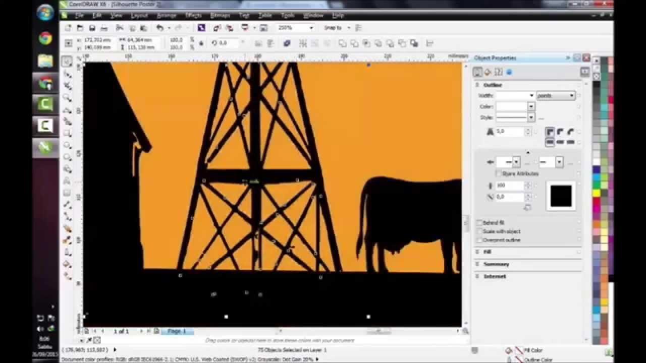 Poster design in coreldraw x7 - Coreldraw X7 How To Draw Silhouette Poster Step By Step
