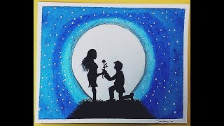 How to Draw Romantic Love with Moonlight Night Scenery step by step Easily || Sanjay m Arts ||