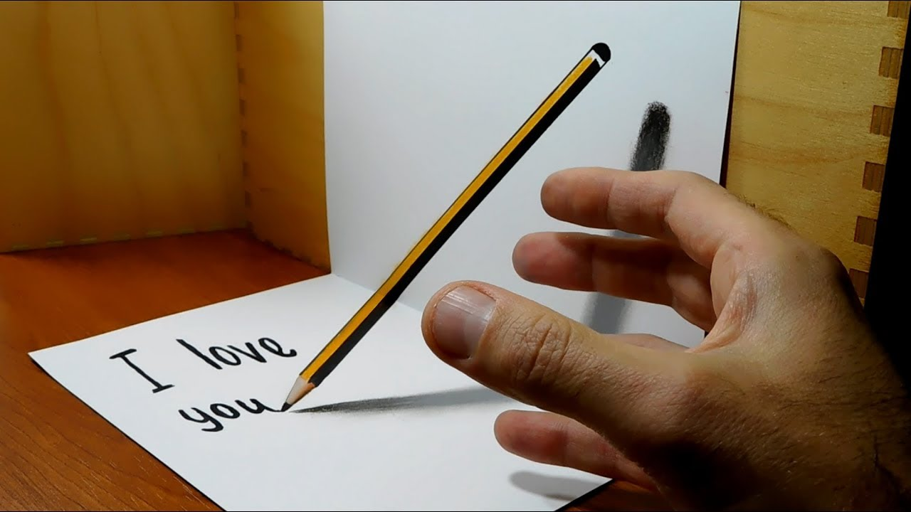 pencil illusion optical 3d magic draw trick
