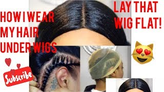 How I prep and wear my long natural hair under Wigs || Braid and Wig cap Method