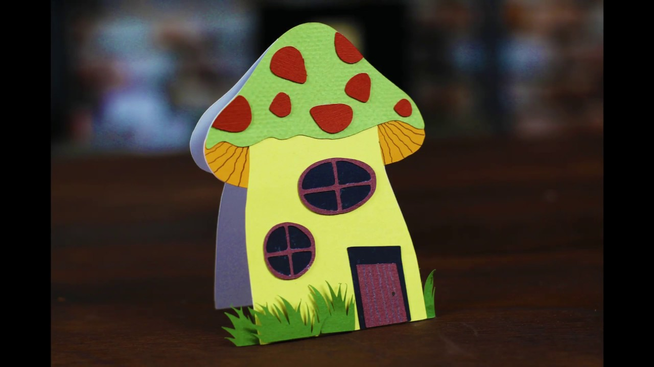 Mushroom House Shaped Card Created With Scanncut