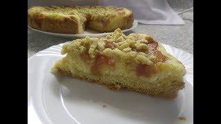 Пирог из песочного теста с творожной прослойкой.