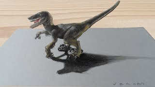 VELOCIRAPTOR ILLUSION - How to Draw 3D Raptor - Trick Art