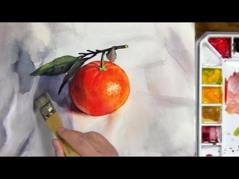 Watercolor Painting of a Mandarin Orange with Leaves