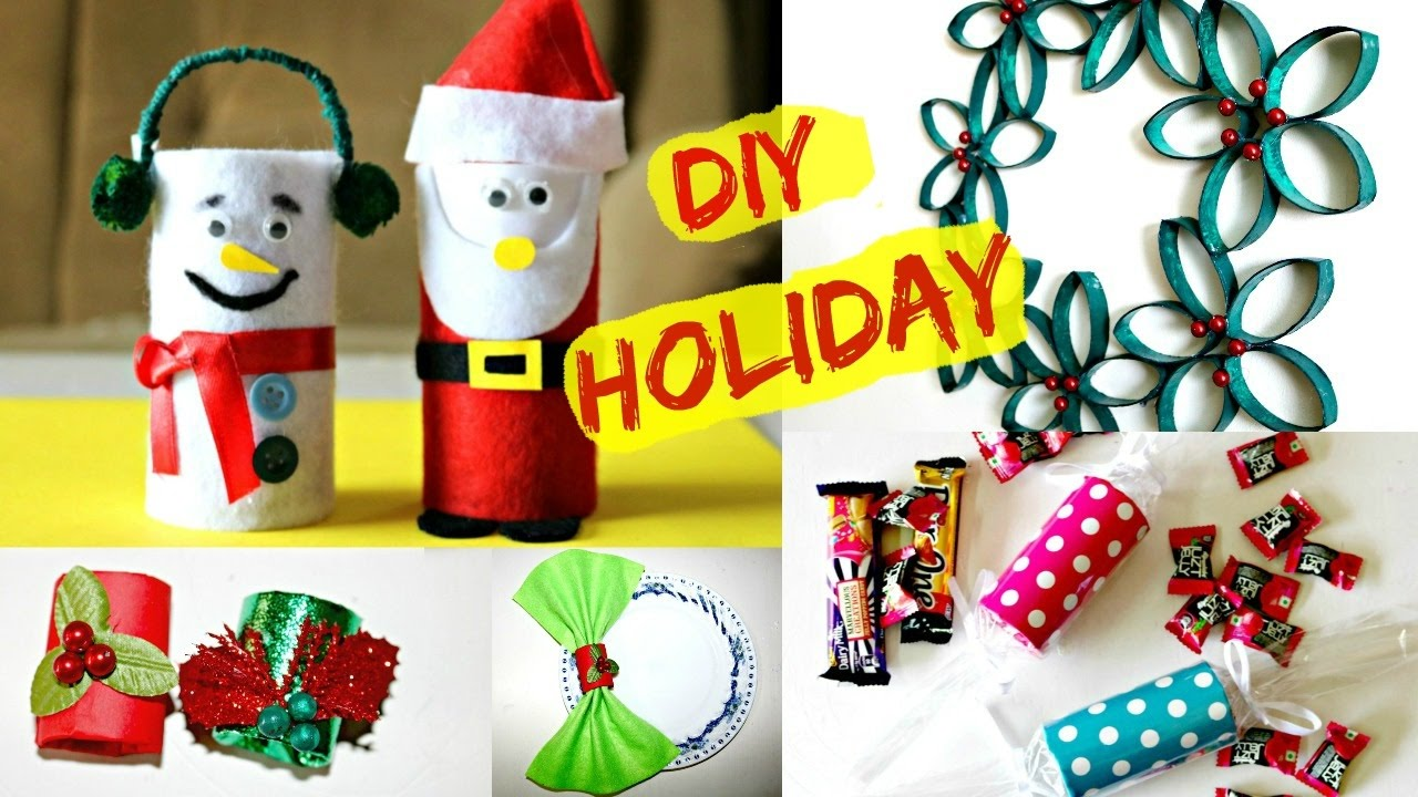 4 Christmas Decoration Gift Ideas Using Toilet Paper Rolls Youtube