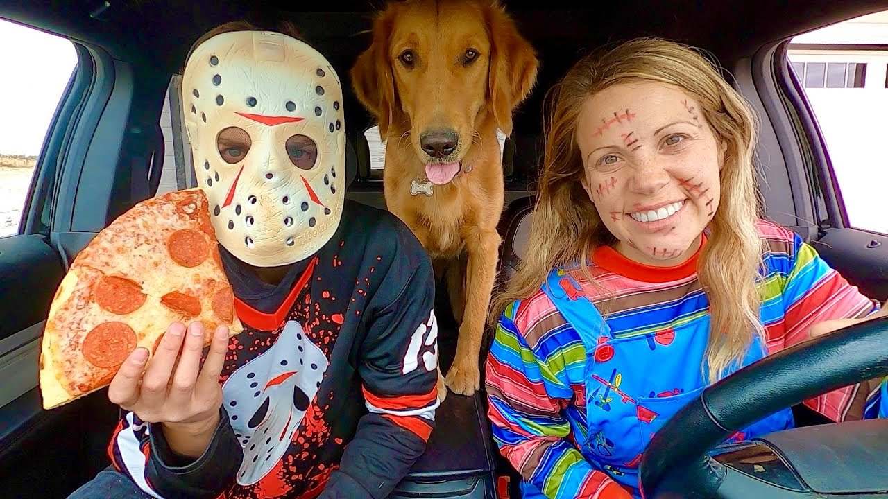 Chucky Surprises Puppy and Jason with Car Ride Chase!
