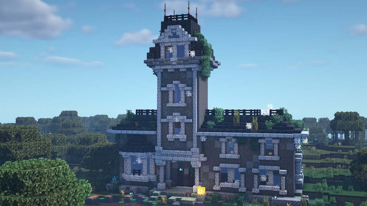 Minecraft Peaceful Longplay - Relaxing Build, Haunted Mansion Starter House (no commentary)