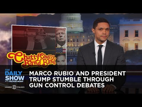 Marco Rubio and President Trump Stumble Through Gun Control Debates: The Daily Show: Parents and student survivors of the Parkland school shooting call out Marco Rubio's NRA donations at a CNN town hall, and President Trump proposes questionable gun control.  Watch full episodes of The Daily Show for free: http://www.cc.com/shows/the-daily-show-with-trevor-noah/full-episodes  The Daily Show with Trevor Noah airs weeknights at 11/10c on Comedy Central.