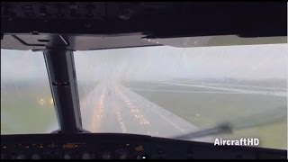 Cockpit landing with low visibility & rain - Airbus A320