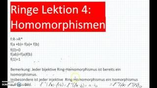 Ringe Teil 4: Homomorphismen  (Mathematik, Mathe, Algebra, Homomorphismus)