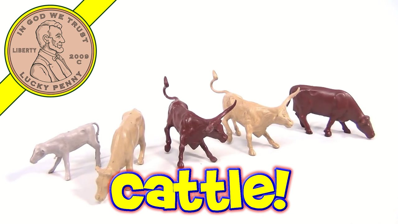 Plastic Toy Animals Collection Vintage Farm Animals Cows