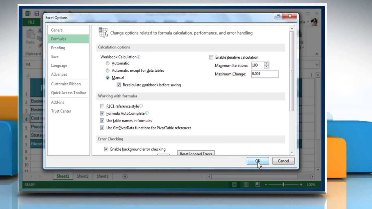 How to change the Automatic Calculation and Multi-Threading Features in  Excel 2013