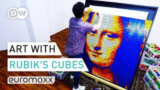 Creating The Mona Lisa With Rubiks Cubes | Rubiks Cube Art | Euromaxx YouTube Videos