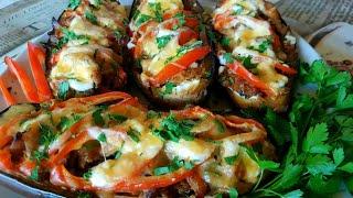 Запеченные баклажаны с курицей в духовке
