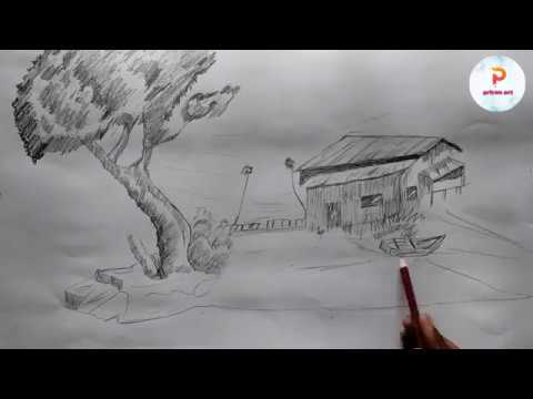 How To Draw a landscape | step by step with pencil | easy pencil drawing.