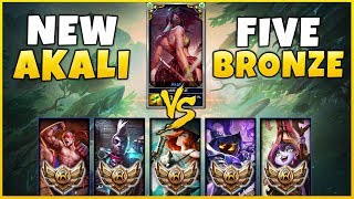 NEW REWORKED AKALI VS. 5 BRONZE PLAYERS! (1v5) INSANE DIFFICULTY!!! SEASON 8 AKALI REWORK GAMEPLAY