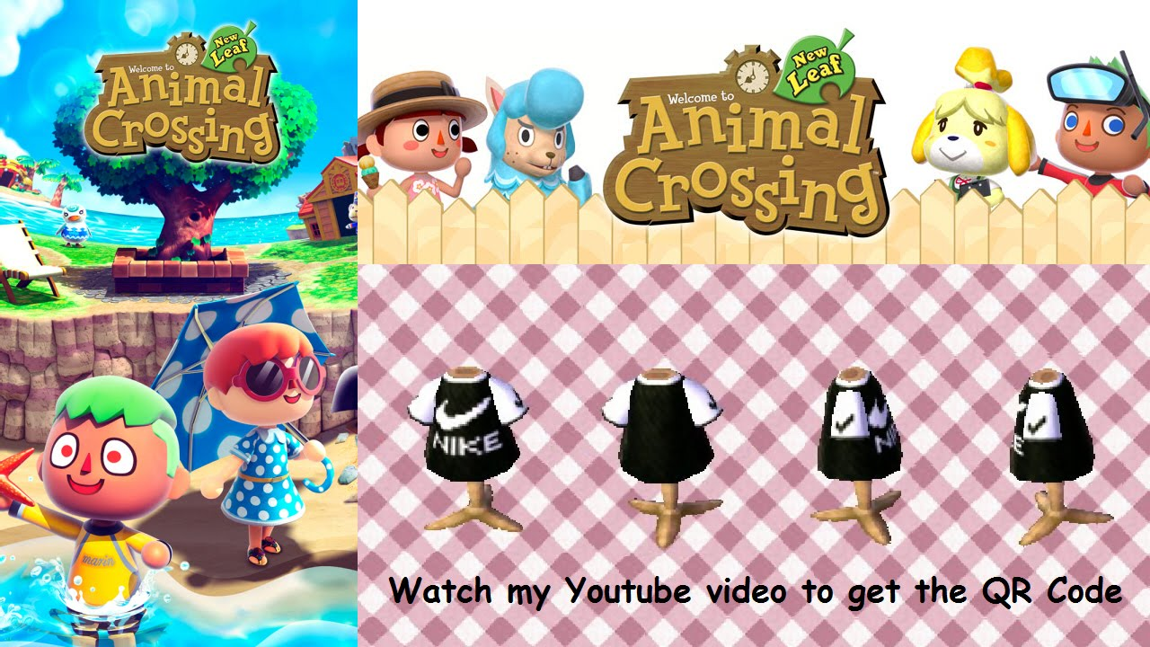 Animal Crossing New Leaf Qr Code 3ds Nike T Shirt Youtube