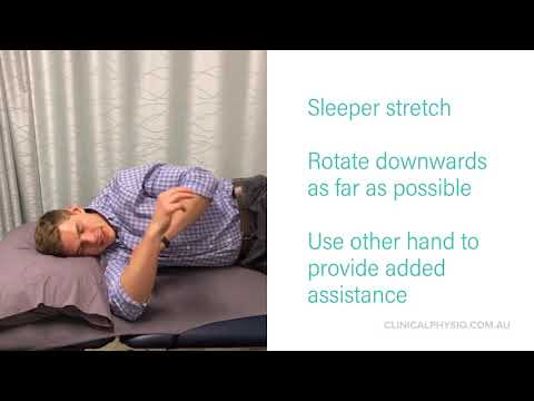 Sleeper stretch for shoulder internal rotation stiffness
