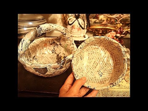 Newspaper recycling how to make solid basket and bowl for How to make a newspaper bowl