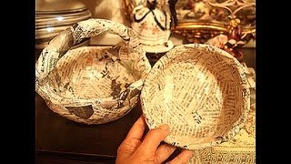 Newspaper recycling..How to make solid Basket and Bowl..part 1