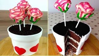 Flowerpot Cake With Rose Cake Pops  How to Mothers Day DIY Treats  CarlyToffle
