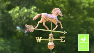 Good Directions 952p Smithsonian Running Horse Weathervane - Polished Copper