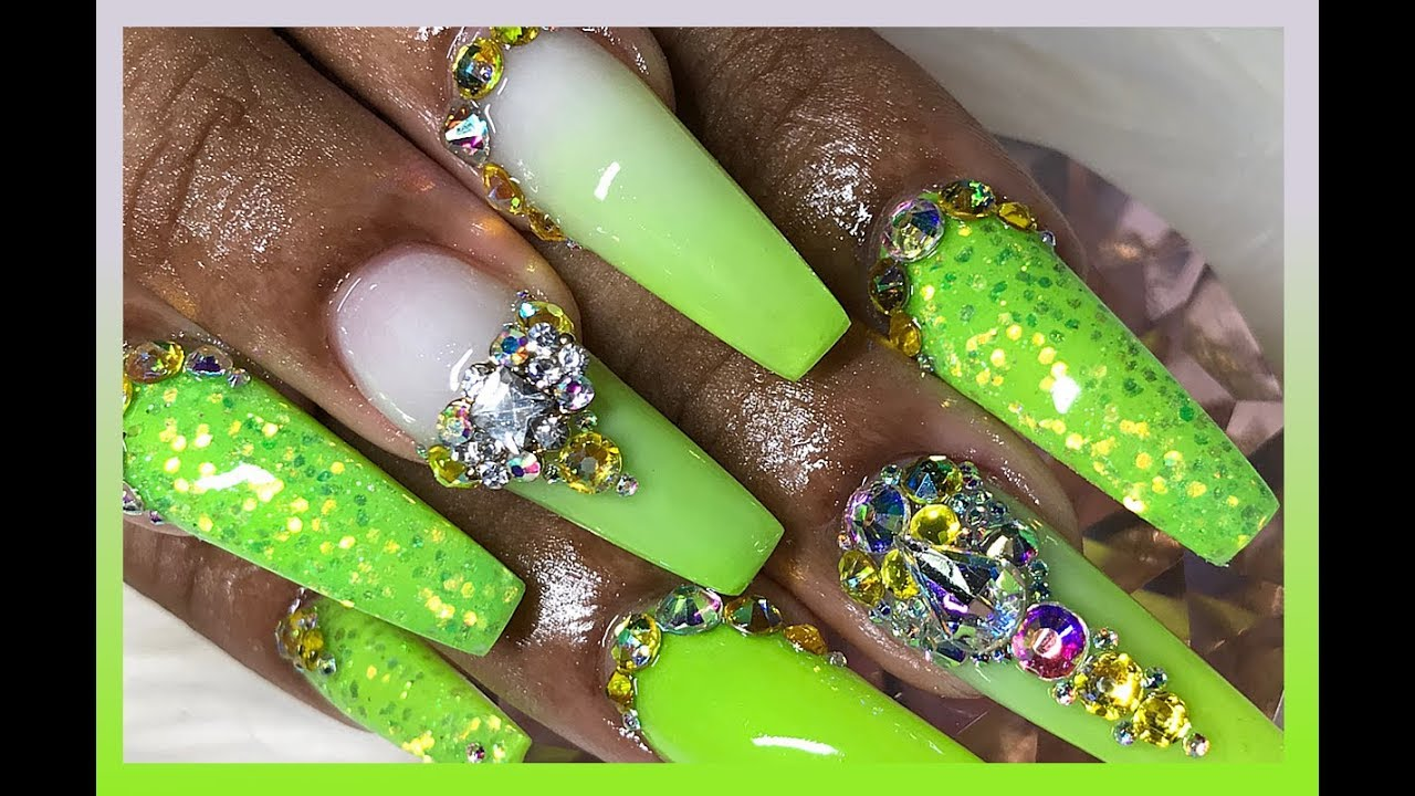 How To Lemon Lime Summer Neon Acrylic Nails Youtube