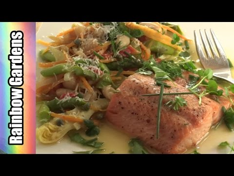 Salmon /Trout w/ Cannellini Beans and Spring Garden Vegetables Fine Fast Food:)