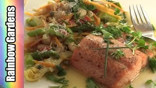 Salmon Trout w Cannellini Beans and Spring Garden Vegetables